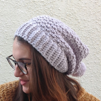 SLOUCH HAT  with pom-pom . Wool blend . Silver Grey . Ladies Med.
