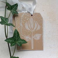GIFT TAGS. Wood-cut style.' Rose ' ( set of 3 ) Wedding . Gift . Home decor.