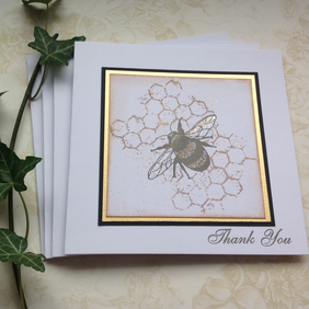 GREETINGS cards, Thank You cards  ( pack of 4 ). Bee . Honeycomb. Nature.