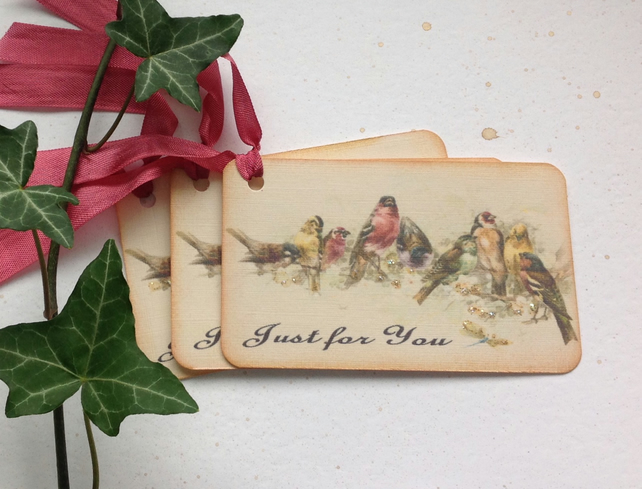 GIFT TAGS  .Vintage -style ' Apple Blossom Time '( set of 3) ' .ready to ship...