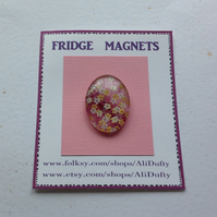 FRIDGE MAGNET . Oval . Pink with white  flowers . Yuzen . Japanese design .
