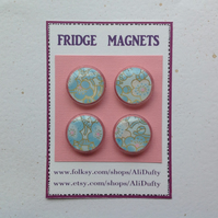 FRIDGE MAGNETS ( set of 4 )  Blossom . Blue , gold.  Yuzen . Japanese design.