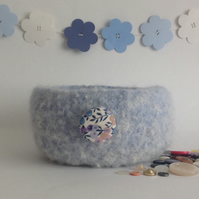 SALE .. 'FUSSPOT' felted bowl  . ' Summer Skies '  ( with Liberty fabric button)