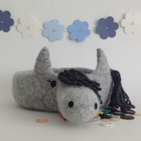 FELTED 'FUSSPOT' BOWL, tray  . Desk tidy.  Pony .' Misty '  ...ready to ship ...