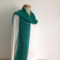 COTTON  and SILK scarf, lightweight , all-seasons, ' Emerald Valley'.