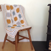 COT , PRAM blanket.  Crocheted .' Modern Dots '.Wool blend ..ready to ship .....