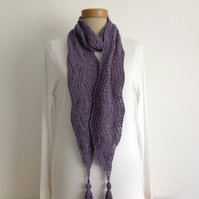 COTTON  scarf, neck tie. Lightweight , all-seasons, ' Bilberry' .  Eco friendly.