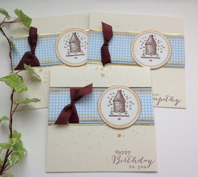 GREETINGS cards,( pack of 3 diff sentiments).  Bee Hive . Nature.