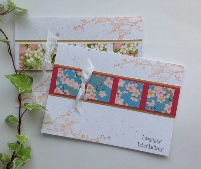 GREETINGS cards  ( 2 x diff designs ) ) Yuzen . 'Blossom 2'... ready to ship..