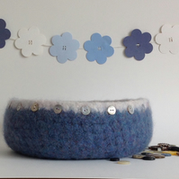 FELTED 'FUSSPOT'  BOWL . (with MOP buttons).' Low Tide'. Multiple listing.