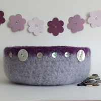 FELTED ' FUSSPOT' BOWL ,desk tidy ' Calm' . Purple . Grey ( with MOP buttons)