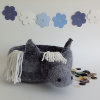 FELTED 'FUSSPOT' BOWL, tray  . Desk tidy.  Pony .' Storm '  ...ready to ship ...