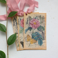 GIFT TAGS  ( set of 3 ) .Vintage -style  ' Pink Roses '..ready to ship