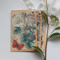 GIFT TAGS  ( set of 3 ) .Vintage -style  ' White Roses '..ready to ship