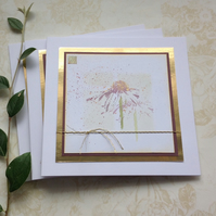 GREETINGS cards, notecards , (pack of 3 ,blank ) . ' Echinacea '