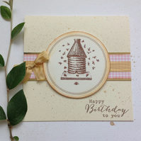 GREETINGS cards, Birthday . Bee .Skep .Nature. Choice of colour.