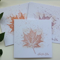 GREETINGS cards , notecards, (pack of 3 diff shades )  'Leaf Fall' . Maple.