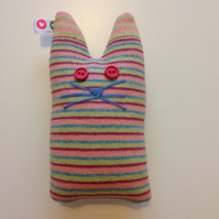 Knitted stripey cat