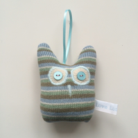 S A L E - Knitted Lavender Owl decoration