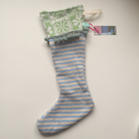 Knitted christmas stocking decoration