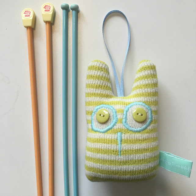 Knitted Lavender Olive Owl decoration