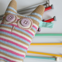 Knitted Lavender Olive Owl