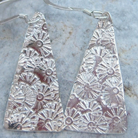 Sterling Silver triangle earrings with flower texture