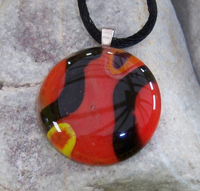 Glass Pendant with Sterling Silver