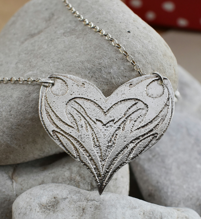 Heart necklace in sterling silver - hallmarked