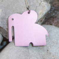 Elephant pendant in anodised aluminium