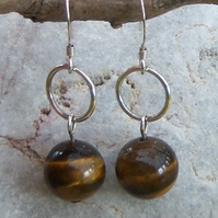 Tigers Eye earrings with silver hoops