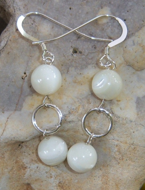 Sterling silver earrings with Mother Of Pearl stones
