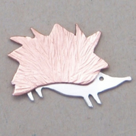 Hedgehog brooch in copper and sterling silver