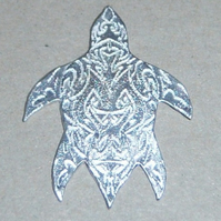 Turtle brooch in etched sterling silver