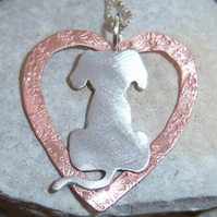 Silver Dog in Copper Heart Pendant