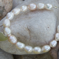 Pearl bracelet with sterling silver heart - child size