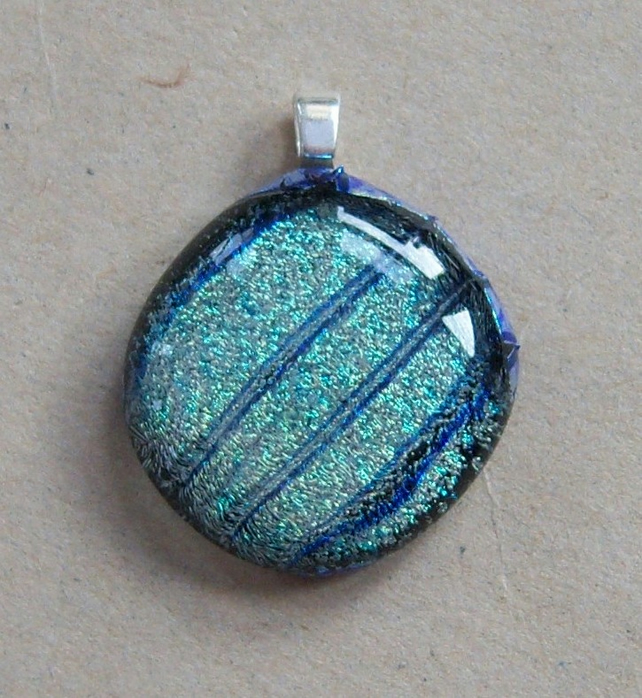 Dichroic Glass Pendant With Sterling Silver