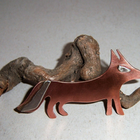 Copper fox brooch with sterling silver and brass highlights