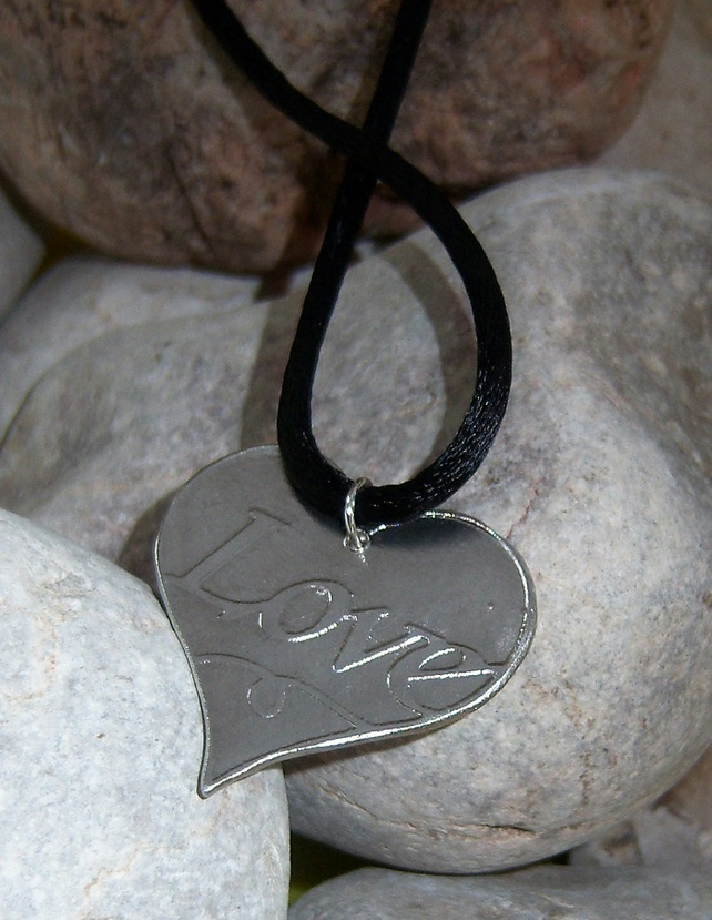 Love heart pendant in etched pewter