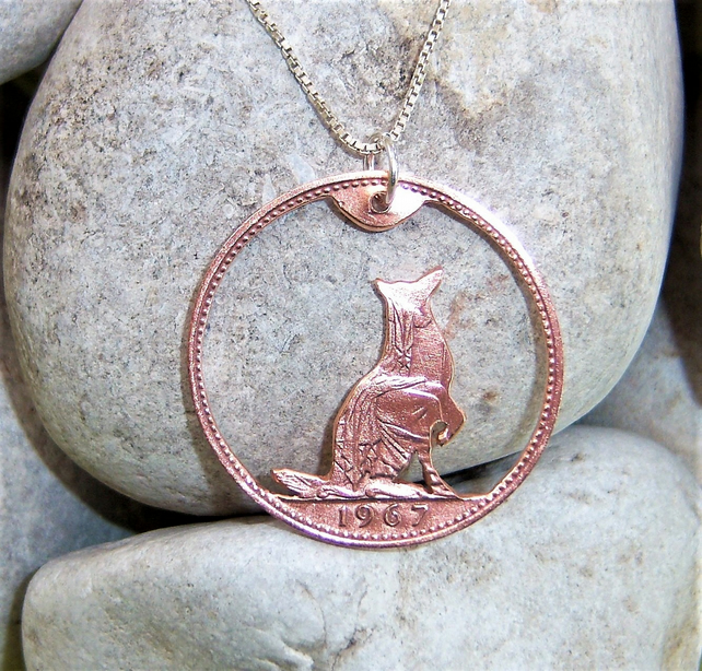Dog pendant recycled from bronze penny coin
