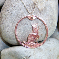 Dog pendant recycled from bronze penny coin (D3)