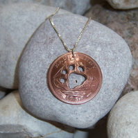 Paw in bronze halfpenny coin pendant