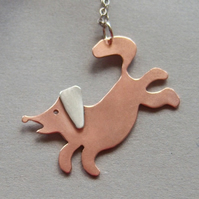Copper jumping dog pendant