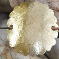 Shawl pin in flower etched brass