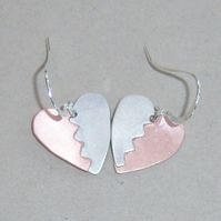 Heart earrings in copper and sterling silver