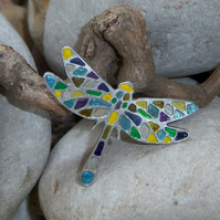 Dragonfly Brooch etched in pewter with sterling silver