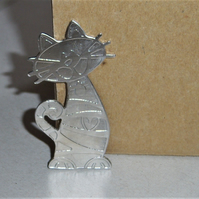 Cat brooch in etched pewter
