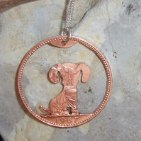 Dog pendant recycled from bronze penny coin (D1)