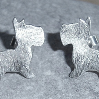 Dog studs in sterling silver