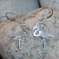 Flamingo earrings in sterling silver